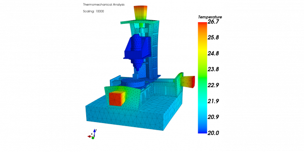 Thermo-mechanical analysis result: Temperature field and scaled deformation